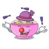 Juggling cooked whole porridge oats in cartoon pan. Vector illustration royalty free illustration