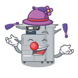Juggling copier machine next to character chair. Vector illustration stock illustration
