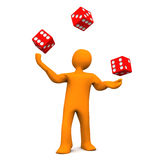 Juggling Dice. Orange cartoon character juggles with red dices Stock Photography