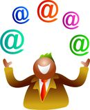 Juggling email. Icon people - happy man juggling email symbols Royalty Free Stock Image