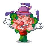 Juggling flower bouquet placed on glass cartoon. Vector illustration stock illustration