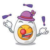 Juggling freshly boiled egg isolated on mascot cartoon. Vector illustration stock illustration