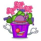 Juggling geranium flowers in the cartoon shape. Vector illustration royalty free illustration