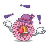 Juggling gerbera flowers in the cartoon shape. Vector illustration vector illustration