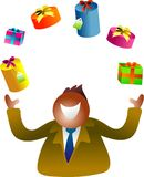 Juggling gifts. Icon people Stock Photography
