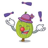 Juggling gooseberry mascot cartoon style. Vector illustration Royalty Free Stock Photo