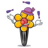 Juggling hair clip mascot cartoon stock illustration