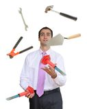 Juggling hand tools stock photography