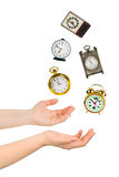 Juggling Hands And Clocks Stock Photos