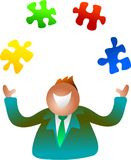 Juggling jigsaw stock illustration