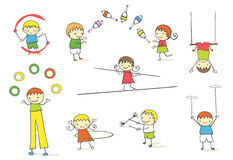 Juggling kids. Collection of nine cute juggling kids cartoon Royalty Free Stock Photography