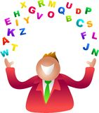 Juggling letters. Alphabet Stock Image