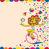 Juggling lion by bicycle. Hand drawing. Stock Image