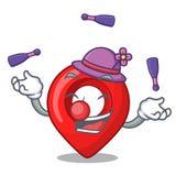 Juggling map marker navigation pin mascot cartoon. Vector illustration royalty free illustration