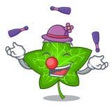 Juggling mascot cartoon beautiful ivy leaf plant. Vector illustration stock illustration