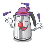 Juggling mascot cartoon household kitchen electric kettle. Vector illustration stock illustration