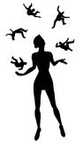 Juggling men. Editable vector silhouette of a sexy woman juggling five men Stock Images