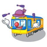 Juggling miniature subway train cartoon above table. Vector illustration stock illustration