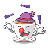 Juggling mint tea in a cartoon cup. Vector illustration vector illustration