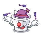 Juggling mortar mascot cartoon style. Vector illustration royalty free illustration