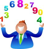 Juggling numbers. Business man Royalty Free Stock Images