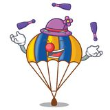 Juggling parachute in shape of acartoon fuuny royalty free illustration
