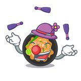 Juggling pat thai on the mascot plate. Vector illustration royalty free illustration