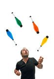 Juggling with pins Stock Photo