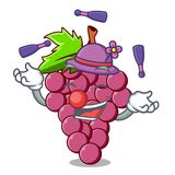 Juggling red grapes fruit in cartoon basket. Vector illustration vector illustration