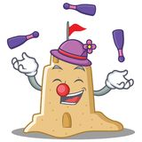Juggling sandcastle character cartoon style. Vector illustration Royalty Free Stock Photos