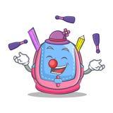 Juggling school bag character cartoon. Vector illustration Stock Photography