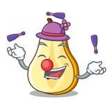 Juggling sliced fresh juicy pear mascot cartoon. Vector illustration royalty free illustration