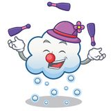 Juggling snow cloud character cartoon Stock Image