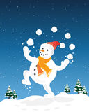 Juggling snowman. An illustration of a happy snowman juggling snowballs with a backdrop of christmas trees under a snowy sky Stock Image