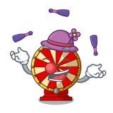 Juggling spinning wheel attached the cartoon wall. Vector illustration royalty free illustration