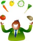 Juggling vegetables stock illustration