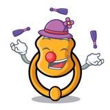 Juggling vintage door knocker on mascot cartoon. Vector illustration stock illustration
