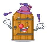 Juggling vintage wooden door on mascot cartoon. Vector illustration vector illustration