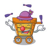 Juggling wooden trolley mascot cartoon. Vector illustration vector illustration