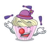 Juggling yummy meringue cake on mascot cartoon. Vector illustration stock illustration