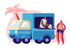 Jugo de compra de la mujer en la playa de la ciudad en Lorry Booth ilustración del vector