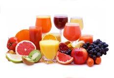 Jugo de la fruta y verdura Imagenes de archivo