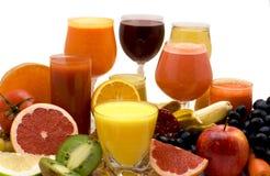 Jugo de la fruta y verdura Fotos de archivo