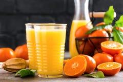 Jugo de la mandarina Bebida de restauración del verano Bebida del refresco de la fruta imagen de archivo libre de regalías