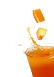 Jugo de la naranja y del melocotón Foto de archivo libre de regalías