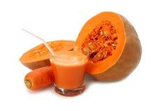 Jugo de la zanahoria y de la calabaza Fotografía de archivo libre de regalías