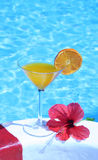 Jugo de Orenge por la piscina Foto de archivo libre de regalías