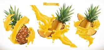 Jugo de piña Icono del vector de la fruta fresca 3d stock de ilustración