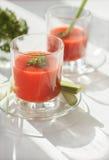 Jugo de tomate con el perejil, desayuno sano Imágenes de archivo libres de regalías
