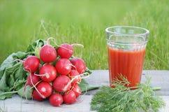 Jugo de tomate con las verduras frescas en la tabla de madera Imágenes de archivo libres de regalías
